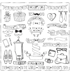 Fathers day decor set Hand drawing Ribbonslinear vector image vector image