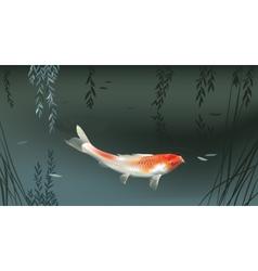 Koi carp in pond vector image vector image