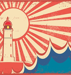 Seascape horizon with lighthouse on old vintage vector