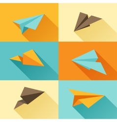 Set of paper planes in flat design style vector image