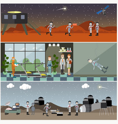set of space posters banners in flat style vector image vector image