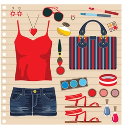 Fashion set with jeans skirt vector image vector image