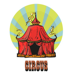 magic red circus frame hand drawn comic style vector image vector image