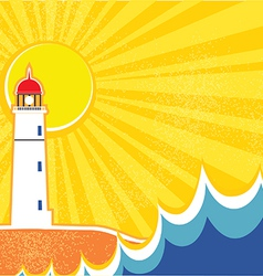 Seascape horizon with lighthouse vector image vector image