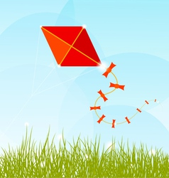 Summer background with grass clouds and a red kite vector image vector image