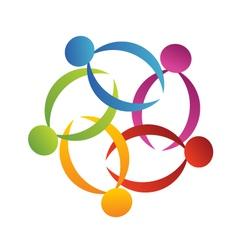 Teamwork support flower logo vector image vector image