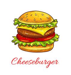 cheeseburger fast food burger icon vector image vector image