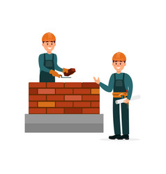 construction worker bricklayer making a brickwork vector image