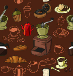 Doodle coffee pattern vector