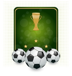 Football layout with champion cup and place for vector image