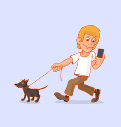 man went for a walk with the dog he is vector image