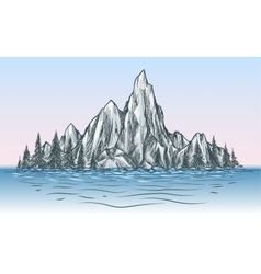 Nature mountain view with river vector image