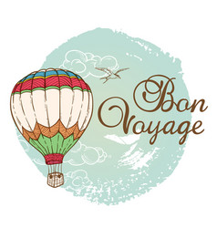 travel background with air balloon vector image