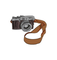 Vintage camera drawing isolated vector