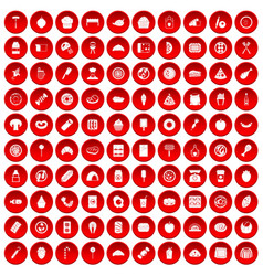 100 delicious dishes icons set red vector