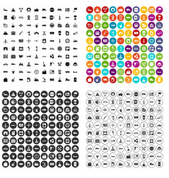 100 gas station icons set variant vector image