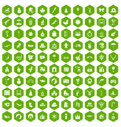 100 happy childhood icons hexagon green vector