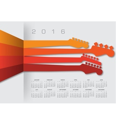 2016 Calender Guitar Headstocks vector