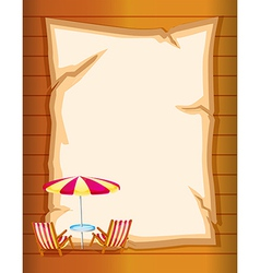 A stationery with beach umbrella and chairs vector