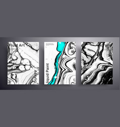 Abstract poster set modern design fluid vector