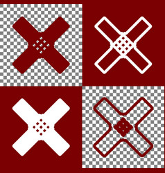 aid sticker sign bordo and white icons vector image