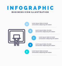 backboard basket basketball board line icon with vector image