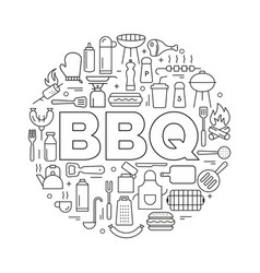 barbecue icons in circle icon line style poster vector image