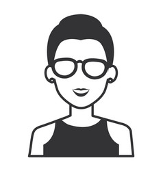 beautiful woman with glasses avatar character vector image
