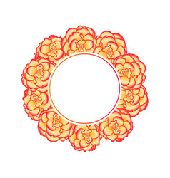 Begonia flower picotee sunburst banner wreath vector