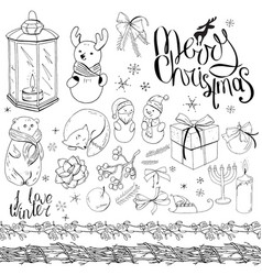 big set with vintage christmas decoration isolated vector image