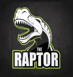 black and white dinosaur emblem on a dark vector image