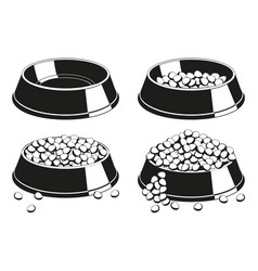 black and white pet food bowl silhouette set vector image