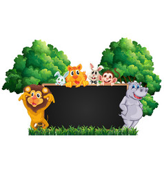 blackboard with many animals in park vector image