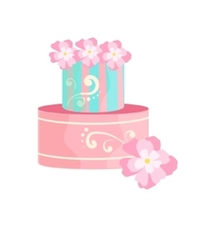 Blue and pink cake with white patterns decorated vector