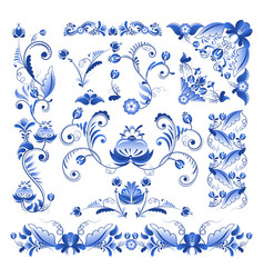 Borders corners and other floral elements vector