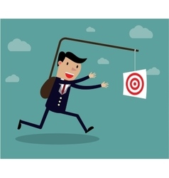 Businessman chasing his target Motivation concept vector image