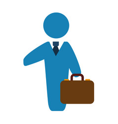 businessman with suit and briefcase vector image