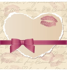 card with paper heart vector image