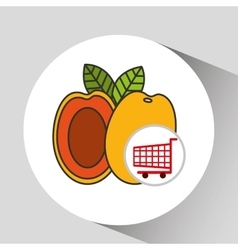 Cart shopping fruit peach icon graphic vector