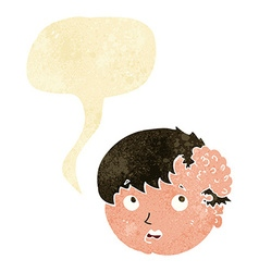 Cartoon boy with ugly growth on head with speech vector