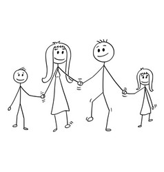 cartoon of family man and woman and boy and girl vector image