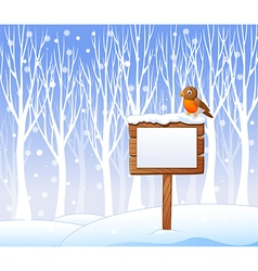 Cartoon robin bird on the blank sign with winter vector