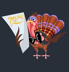 cartoon thanksgiving turkey character holding menu vector image