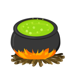 Cauldron on firei in flat style vector