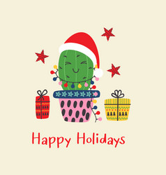 christmas card with fun cactus vector image