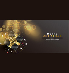 christmas new year gold top view gift box card vector image