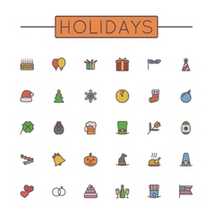 Colored Holidays Line Icons vector image