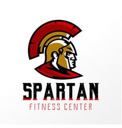 colorful logo badge emblem of spartan head vector image