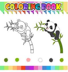 Coloring book happy panda cartoon vector