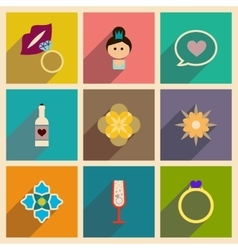 Concept of flat icons with long shadow Womans Day vector